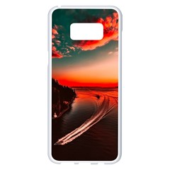 Sunset Dusk Boat Sea Ocean Water Samsung Galaxy S8 Plus White Seamless Case