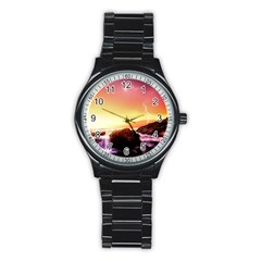 California Sea Ocean Pacific Stainless Steel Round Watch