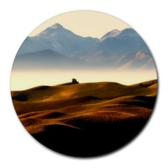Landscape Mountains Nature Outdoors Round Mousepads