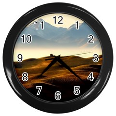 Landscape Mountains Nature Outdoors Wall Clocks (black)