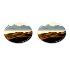 Landscape Mountains Nature Outdoors Cufflinks (oval)