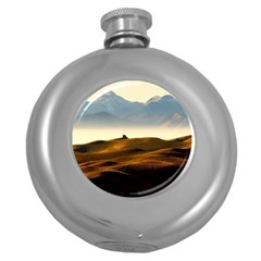 Landscape Mountains Nature Outdoors Round Hip Flask (5 Oz) by BangZart