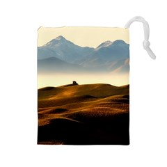 Landscape Mountains Nature Outdoors Drawstring Pouches (large)  by BangZart