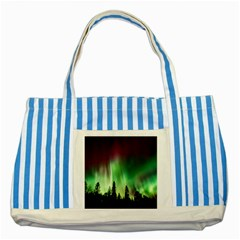 Aurora Borealis Northern Lights Striped Blue Tote Bag by BangZart