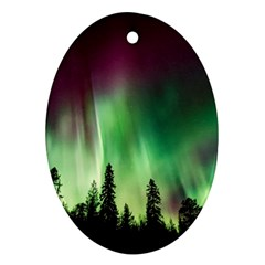 Aurora Borealis Northern Lights Oval Ornament (two Sides)