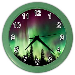 Aurora Borealis Northern Lights Color Wall Clocks