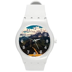 Italy Valley Canyon Mountains Sky Round Plastic Sport Watch (m)