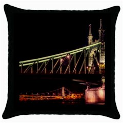 Budapest Hungary Liberty Bridge Throw Pillow Case (black) by BangZart