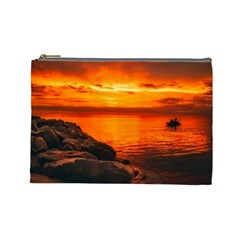 Alabama Sunset Dusk Boat Fishing Cosmetic Bag (large)