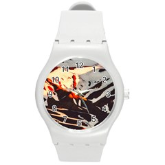 Iceland Landscape Mountains Snow Round Plastic Sport Watch (m)