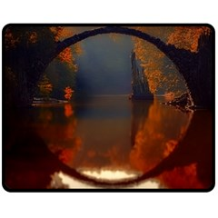 River Water Reflections Autumn Double Sided Fleece Blanket (medium)  by BangZart