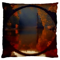 River Water Reflections Autumn Large Flano Cushion Case (two Sides) by BangZart
