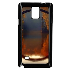River Water Reflections Autumn Samsung Galaxy Note 4 Case (black)