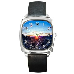 Iceland Landscape Mountains Stream Square Metal Watch