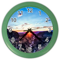 Iceland Landscape Mountains Stream Color Wall Clocks