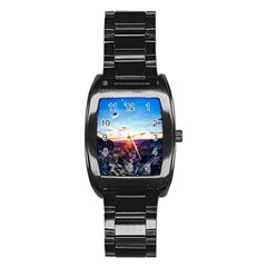 Iceland Landscape Mountains Stream Stainless Steel Barrel Watch