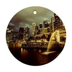 Singapore City Urban Skyline Round Ornament (two Sides) by BangZart
