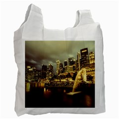 Singapore City Urban Skyline Recycle Bag (one Side)