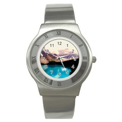 Austria Mountains Lake Water Stainless Steel Watch