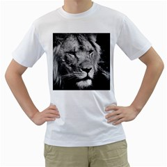 Africa Lion Male Closeup Macro Men s T Shirt (white) (two Sided)