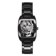 Africa Lion Male Closeup Macro Stainless Steel Barrel Watch
