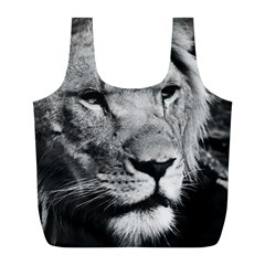 Africa Lion Male Closeup Macro Full Print Recycle Bags (l)  by BangZart
