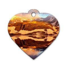 France Snow Winter Sunrise Fog Dog Tag Heart (two Sides) by BangZart