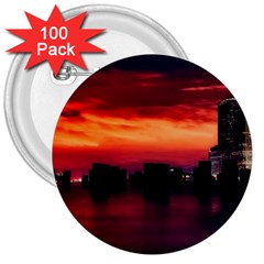 New York City Urban Skyline Harbor 3  Buttons (100 Pack)