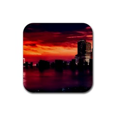 New York City Urban Skyline Harbor Rubber Square Coaster (4 Pack)