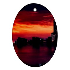 New York City Urban Skyline Harbor Oval Ornament (two Sides) by BangZart