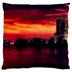 New York City Urban Skyline Harbor Large Cushion Case (two Sides)