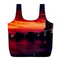 New York City Urban Skyline Harbor Full Print Recycle Bags (l)  by BangZart
