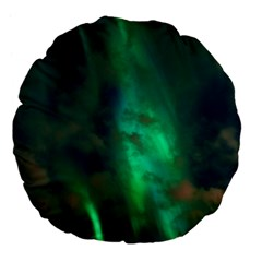 Northern Lights Plasma Sky Large 18  Premium Flano Round Cushions by BangZart