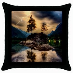 Sunset Dusk Sky Clouds Lightning Throw Pillow Case (black) by BangZart