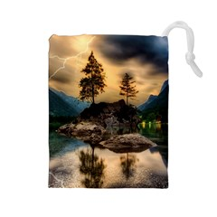 Sunset Dusk Sky Clouds Lightning Drawstring Pouches (large)  by BangZart