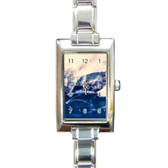 Antarctica Mountains Sunrise Snow Rectangle Italian Charm Watch by BangZart