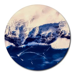 Antarctica Mountains Sunrise Snow Round Mousepads by BangZart