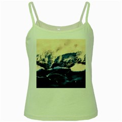 Antarctica Mountains Sunrise Snow Green Spaghetti Tank