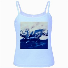 Antarctica Mountains Sunrise Snow Baby Blue Spaghetti Tank