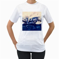 Antarctica Mountains Sunrise Snow Women s T-Shirt (White) (Two Sided)