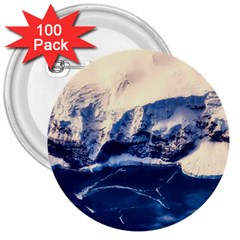 Antarctica Mountains Sunrise Snow 3  Buttons (100 pack)