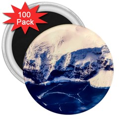 Antarctica Mountains Sunrise Snow 3  Magnets (100 pack)