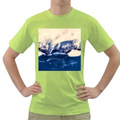 Antarctica Mountains Sunrise Snow Green T-Shirt