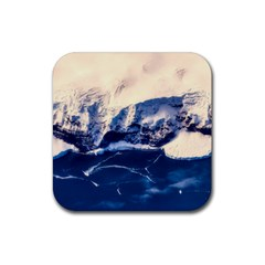 Antarctica Mountains Sunrise Snow Rubber Square Coaster (4 pack)