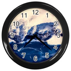 Antarctica Mountains Sunrise Snow Wall Clocks (Black)