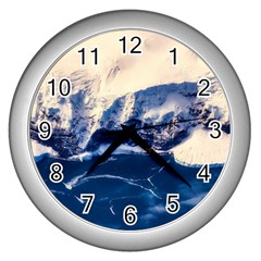 Antarctica Mountains Sunrise Snow Wall Clocks (Silver)