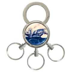 Antarctica Mountains Sunrise Snow 3 Ring Key Chains by BangZart