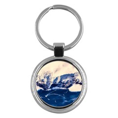 Antarctica Mountains Sunrise Snow Key Chains (Round)