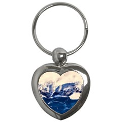 Antarctica Mountains Sunrise Snow Key Chains (Heart)