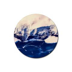 Antarctica Mountains Sunrise Snow Rubber Coaster (Round)
